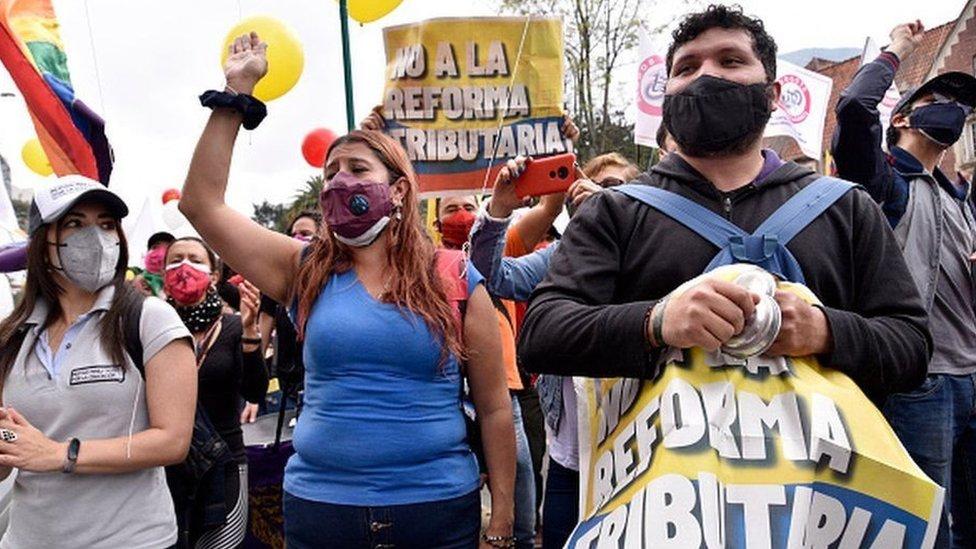 Manifestantes en Colombia