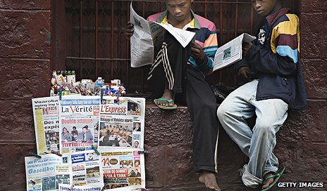 Newspaper stand in Madagascar