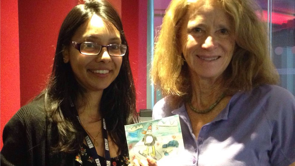 Dhruti Shah and Jean Pennycook meeting in London to handover the postcard for Jean's postcard project