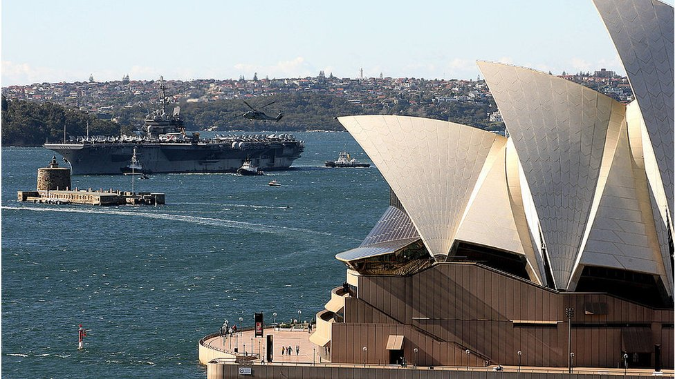 The US Kittyhawk arrives in Sydney Harbour in 2007