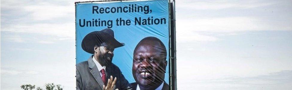 Poster of President Salva Kiir and rebel leader Riek Machar in Juba, South Sudan