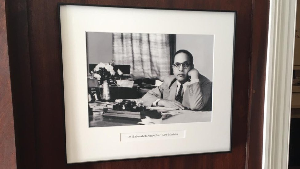 A portrait photograph of Dr Ambedkar