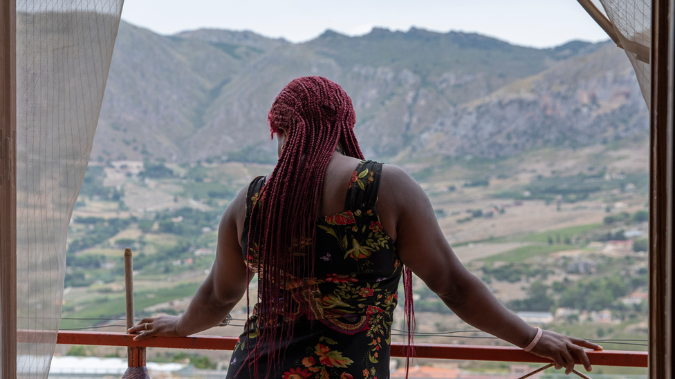 A Nigerian woman at a shelter for trafficked women in Sicily, Italy