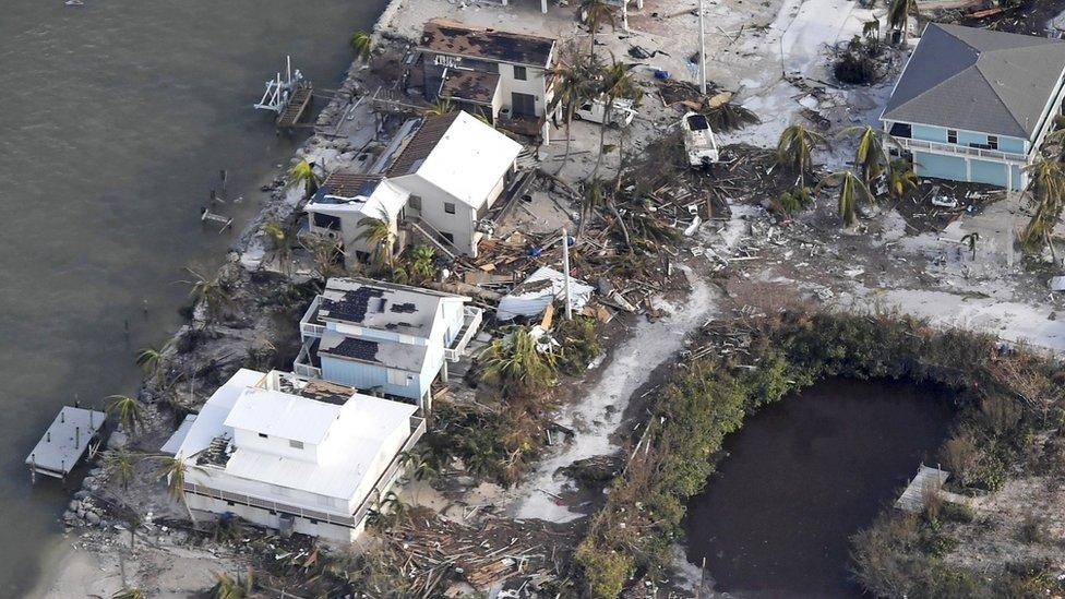 Damaged houses on the Florida Keys, 11 September