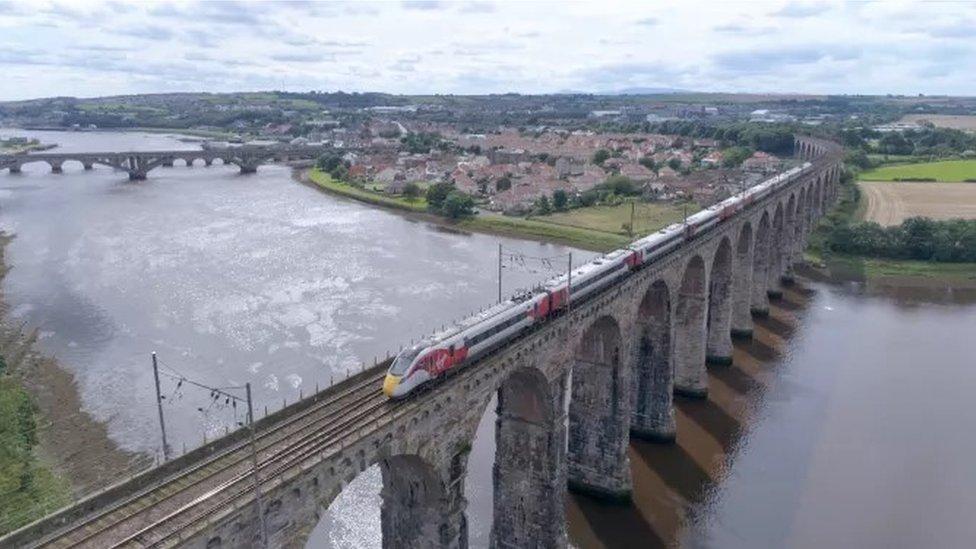 Azuma train on Royal Border Bridge, Berwick