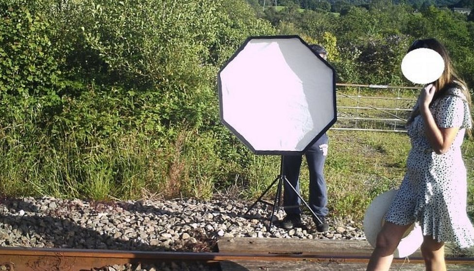 Photos being taken on a railway track