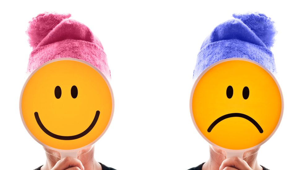 Collage of a person happy and unhappy icons