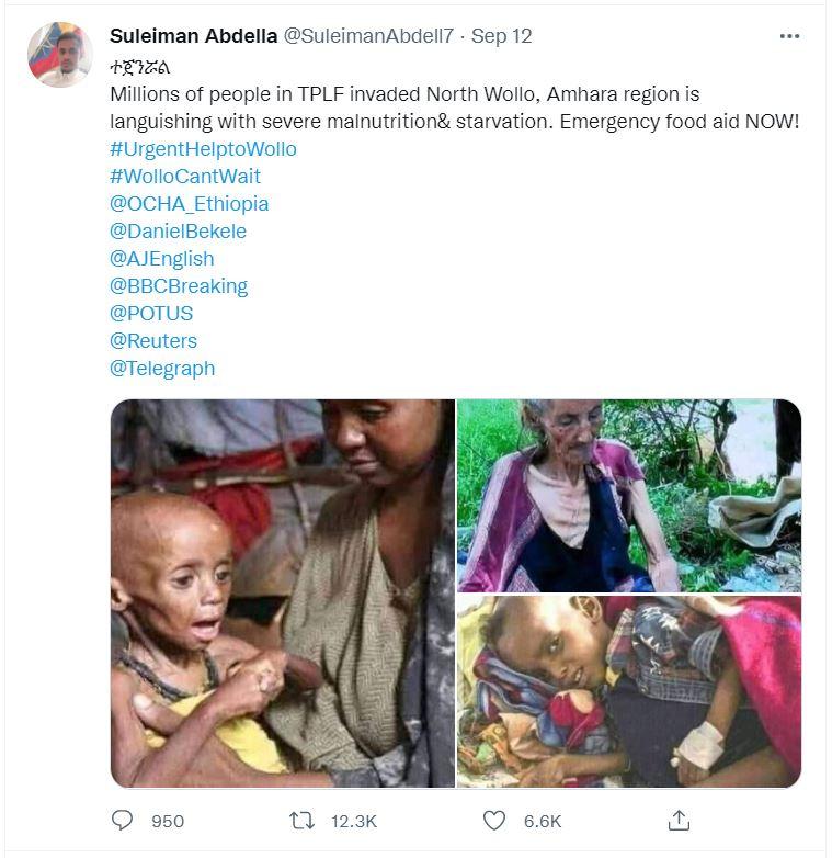 لقطة لتغريدة مع صورة من إقليم الصومال وتيغراي