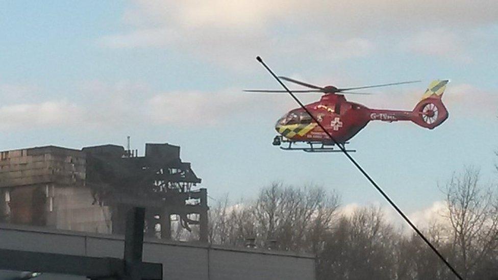 Air ambulance at Didcot Power Station