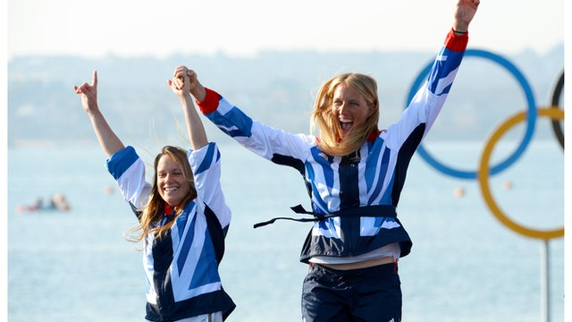 Great Britain's Hannah Mills and Saskia Clark celebrate after winning silver in the women's sailing 470 class at the London 2012 Olympic Games.