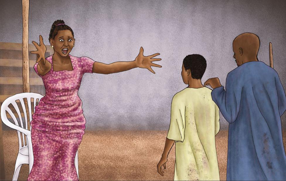 رسم تعبير لفردوسي عند لقائها بصموئيل