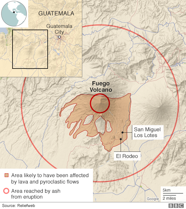 Map of volcano-hit area