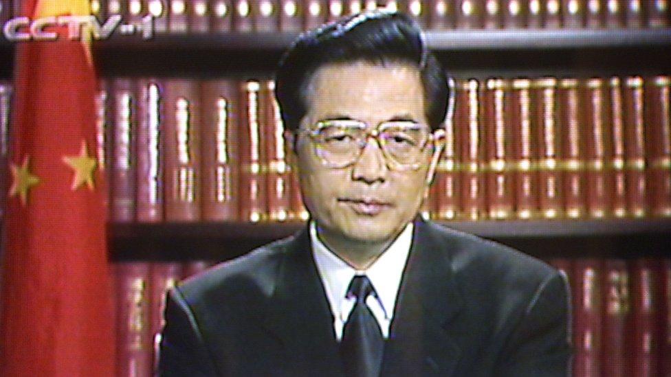 El vicepresidente Hu Jintao, intervención televisiva en 1999.