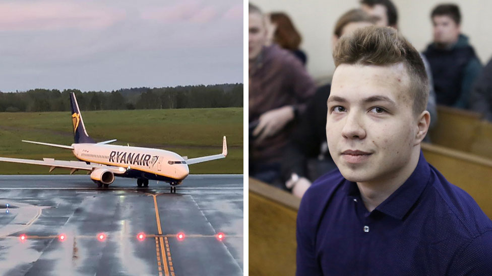 Ryanair plane landing in Vilnius, and activist Roman Protasevich in 2017