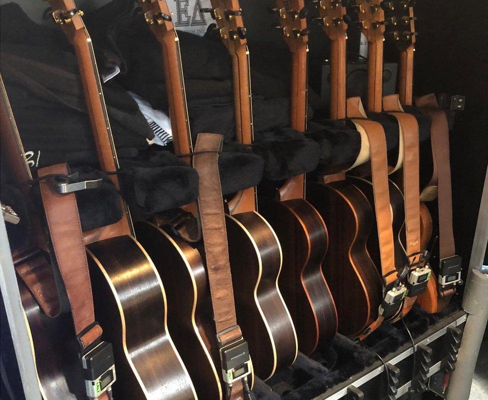 Guitars backstage