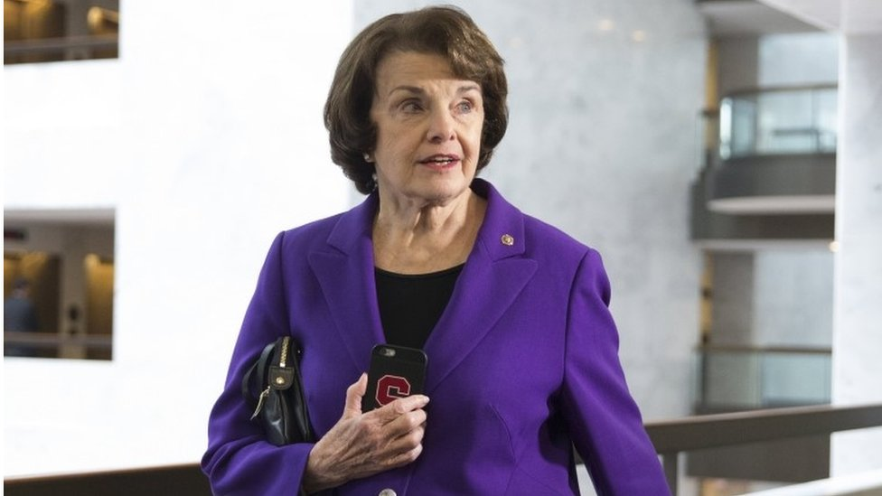 Democratic Senator from California Dianne Feinstein walks to a closed-door briefing of the Senate Select Committee on Intelligence, on Capitol Hill in Washington, DC, USA, 23 May 2017