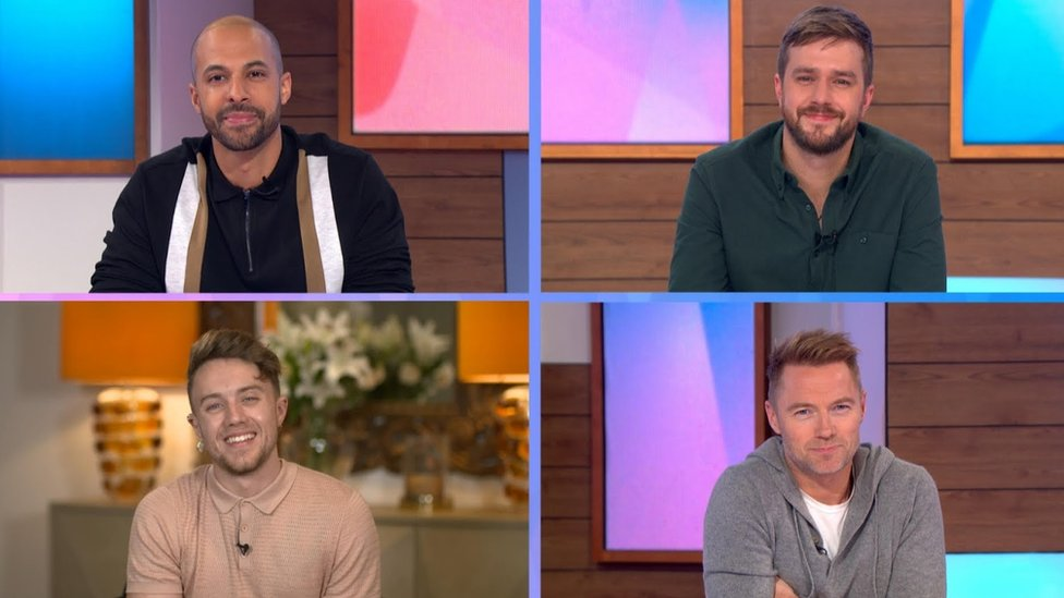 Loose Men: (Clockwise left to right) Marvin Humes, Iain Stirling, Ronan Keating and Roman Kemp