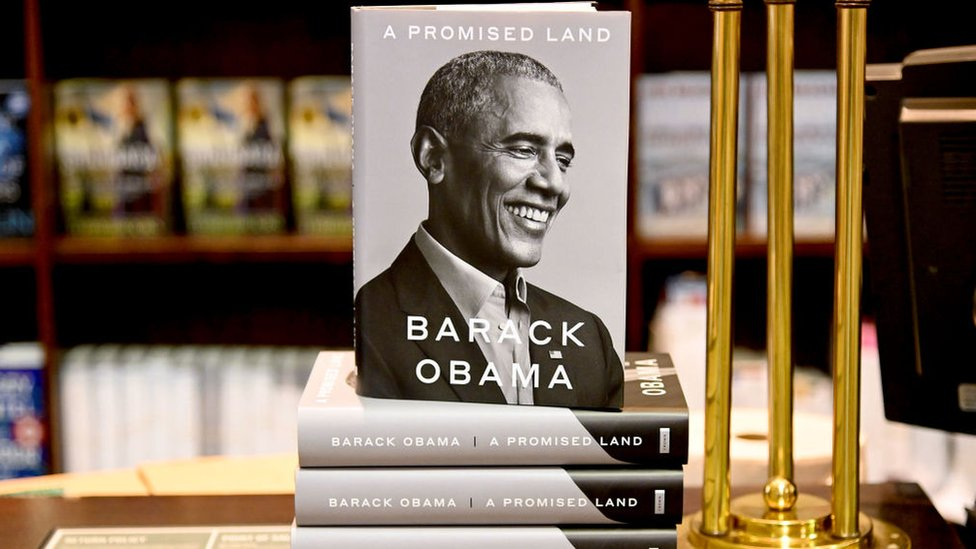 "Barack Obama's memoir ""A Promised Land"" goes on sale ahead of the holiday season at Barnes & Noble Union Square on November 17, 2020 in New York"
