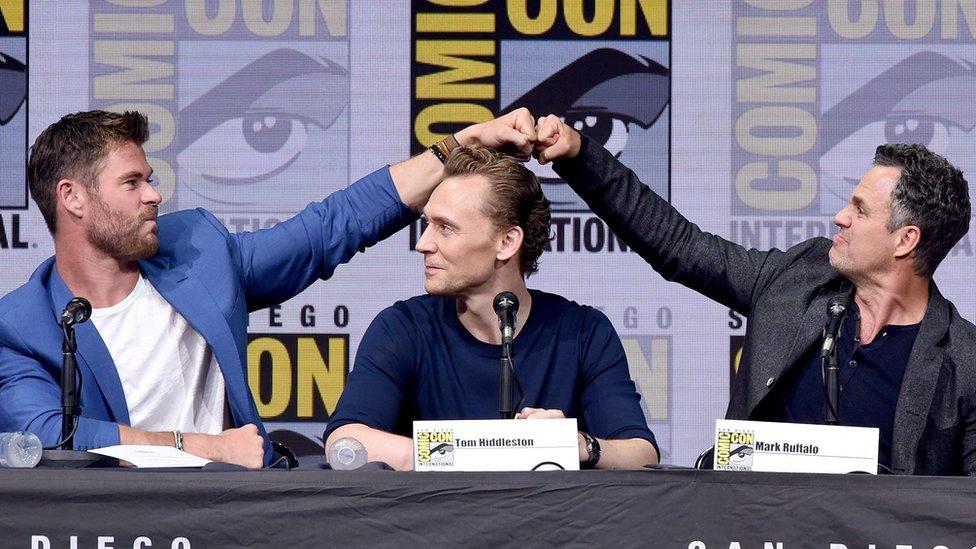 Chris Hemsworth, Tom Hiddleston and Mark Ruffalo