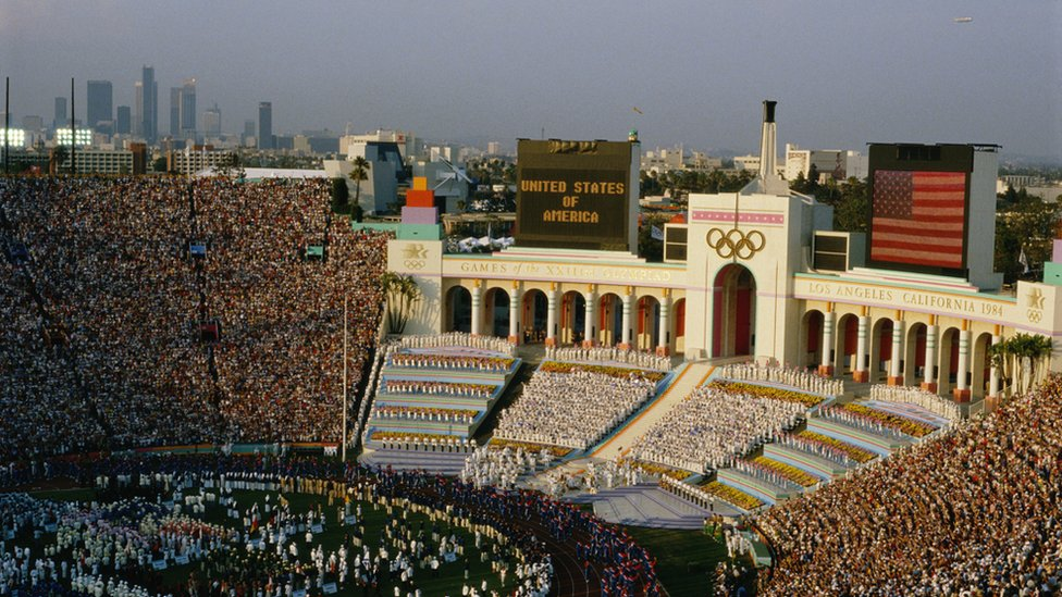 The opening ceremonies of the 1984 Olympic Games