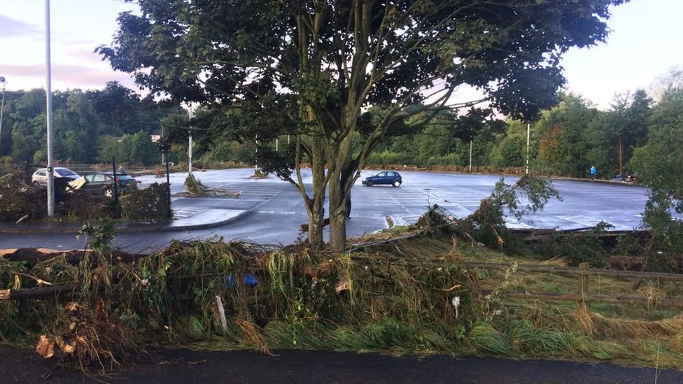 Storm damage at the park and ride in Drumahoe
