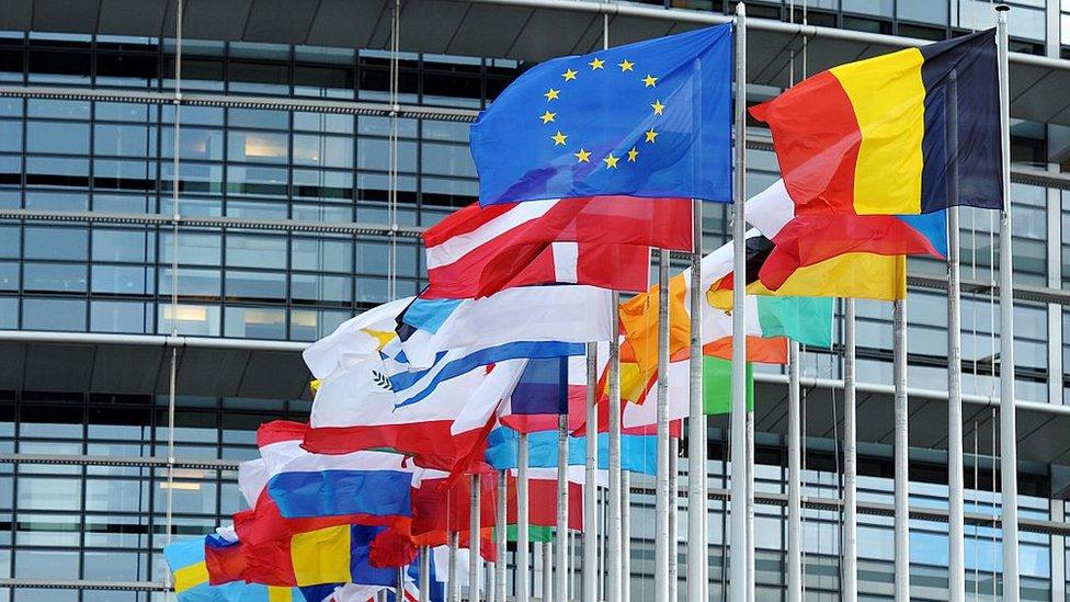 Zastave ispred Evropskog parlamenta