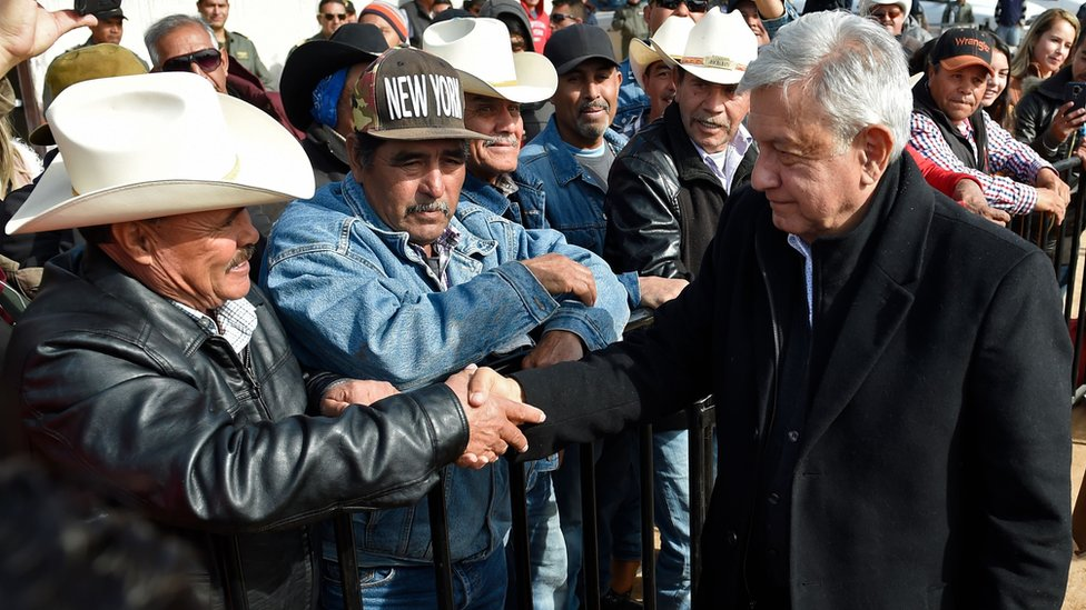 Mexican President Andres Manuel Lopez Obrador visits residents of La Mora