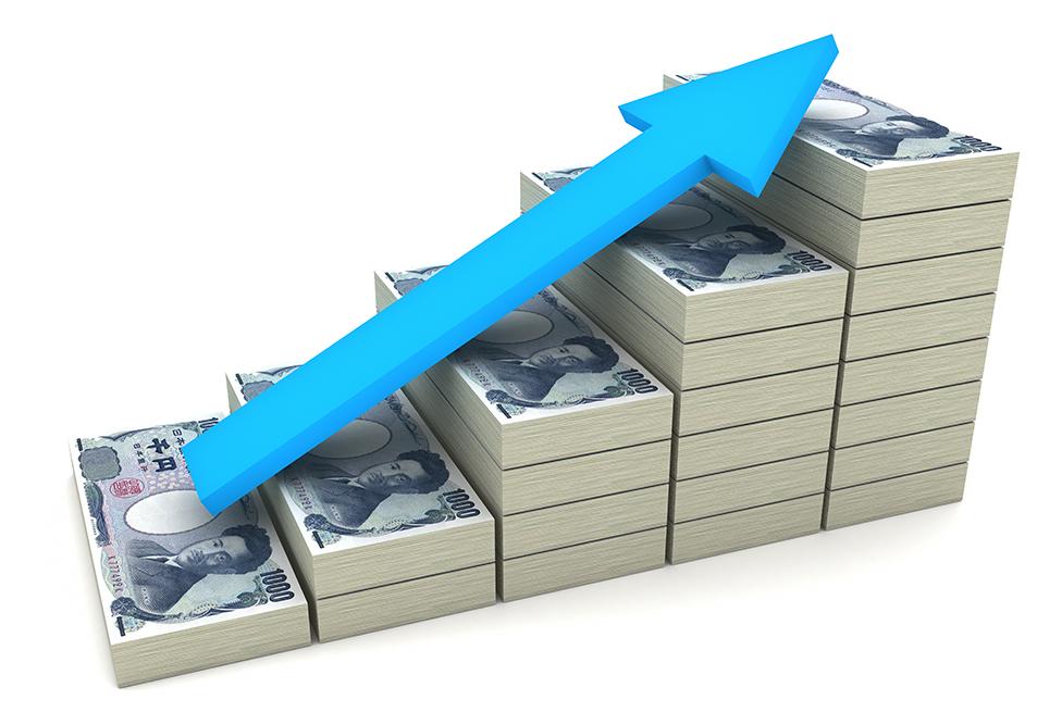 Pilas de yen que van en aumento