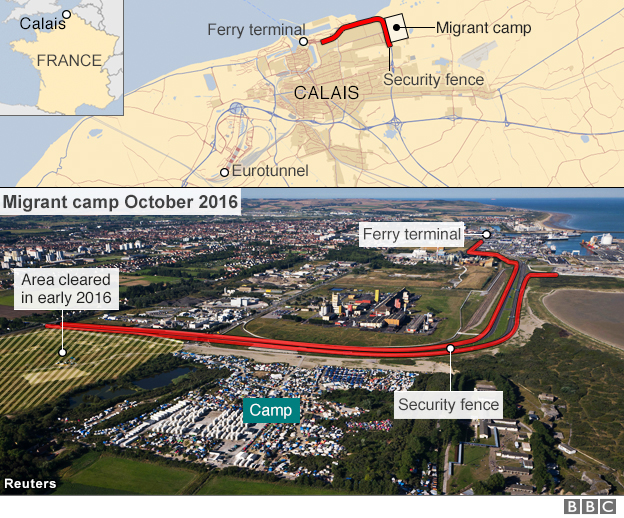 Map of Calais migrant camp