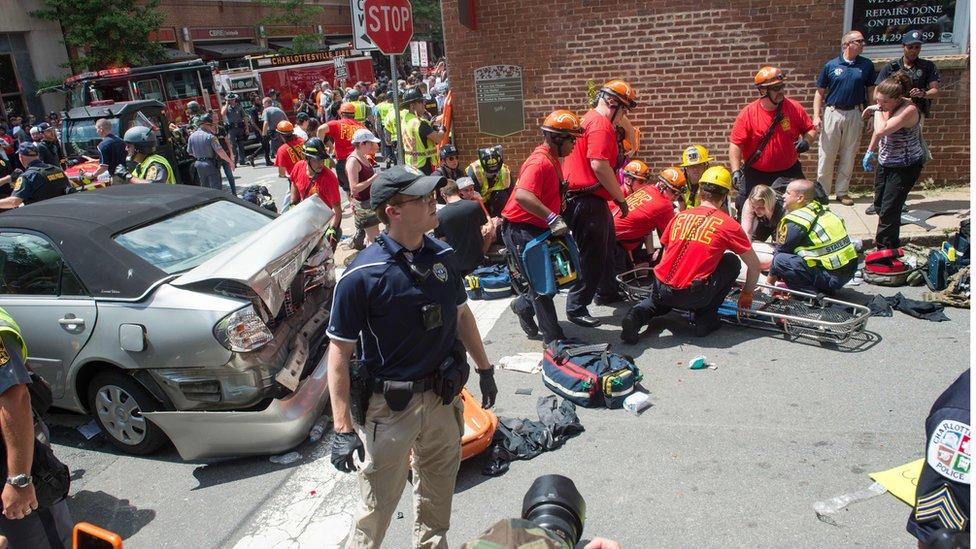 Scene of the attack in Charlottesville