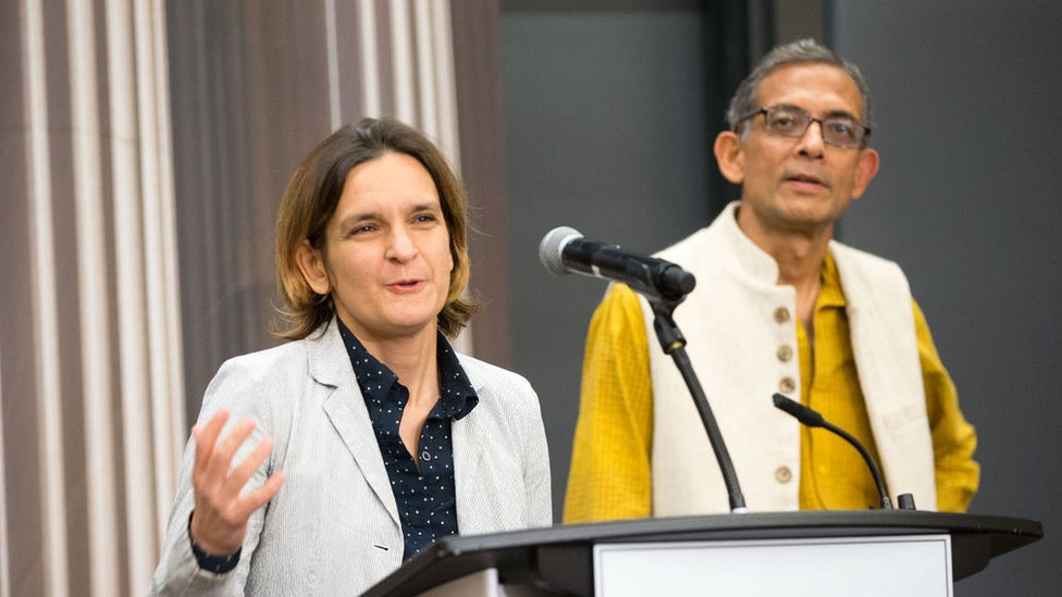 Esther Duflo and Abhijit Banerjee, who share a 2019 Nobel Prize in Economics with Michael Kremer