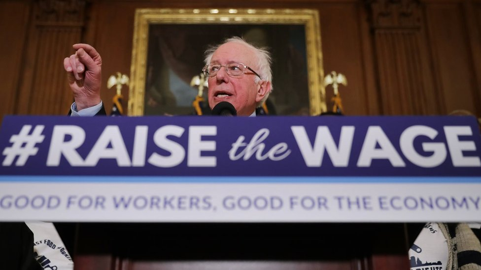 Bernie Sanders speaks during an event to introduce the Raise The Wage Act
