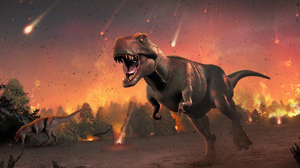 Ilustración de dinosaurios y asteroides