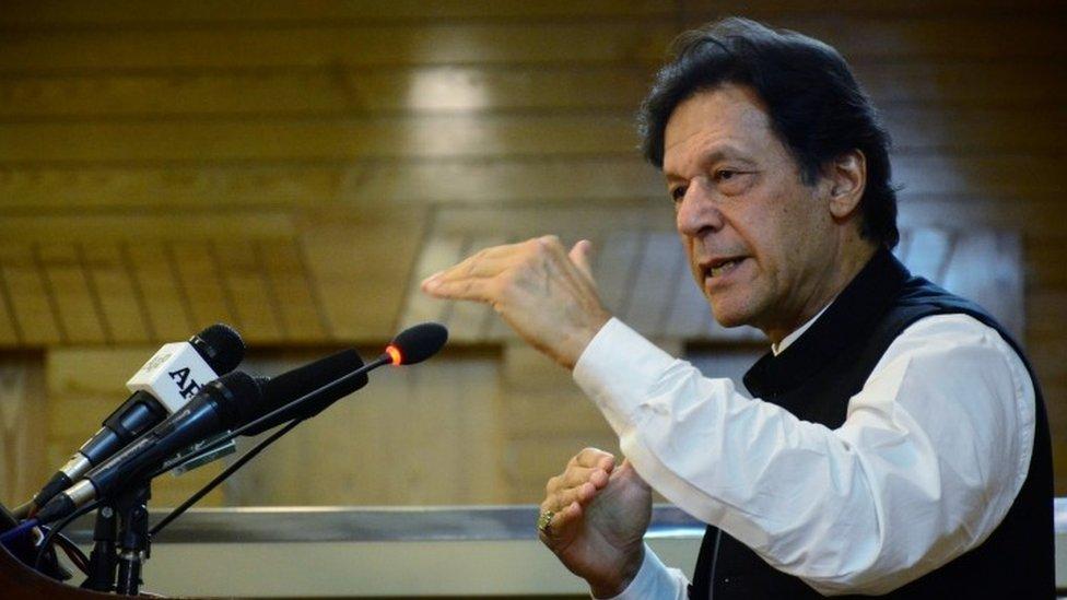 Imran Khan addresses the Azad Kashmir parliament in Muzaffarabad, Pakistan-administered Kashmir, August 14, 2019
