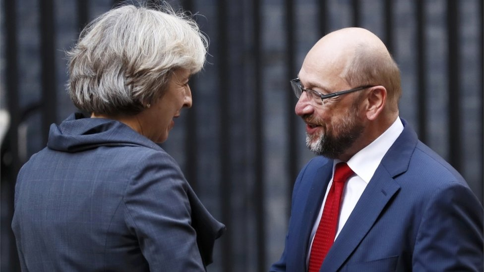 Theresa May and Martin Schulz at Downing Street