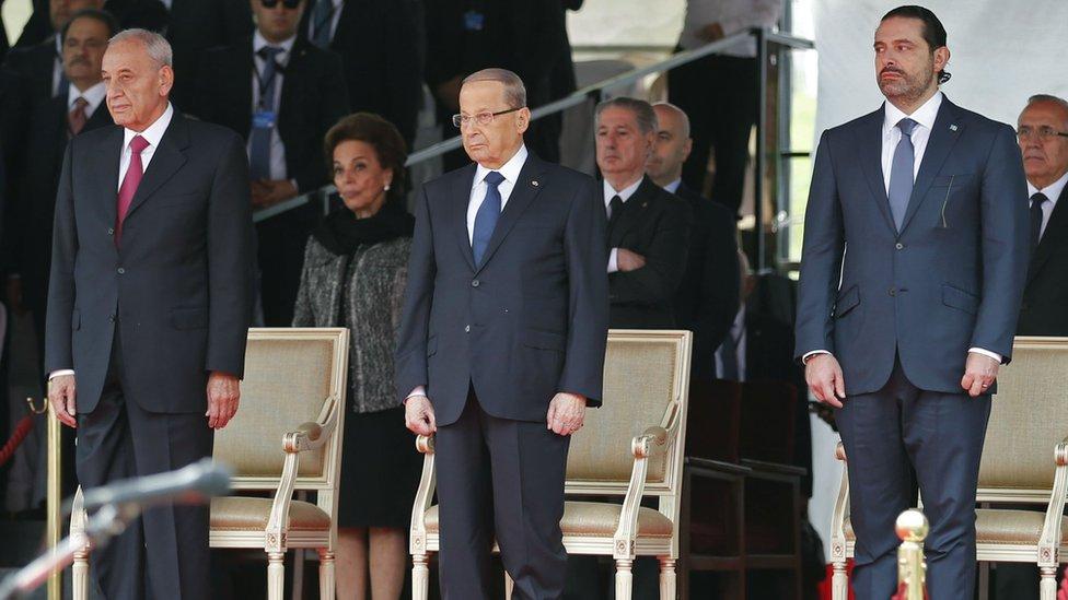 Prime Minister Saad Hariri,President Michel Aoun and House Speaker Nabih Berri