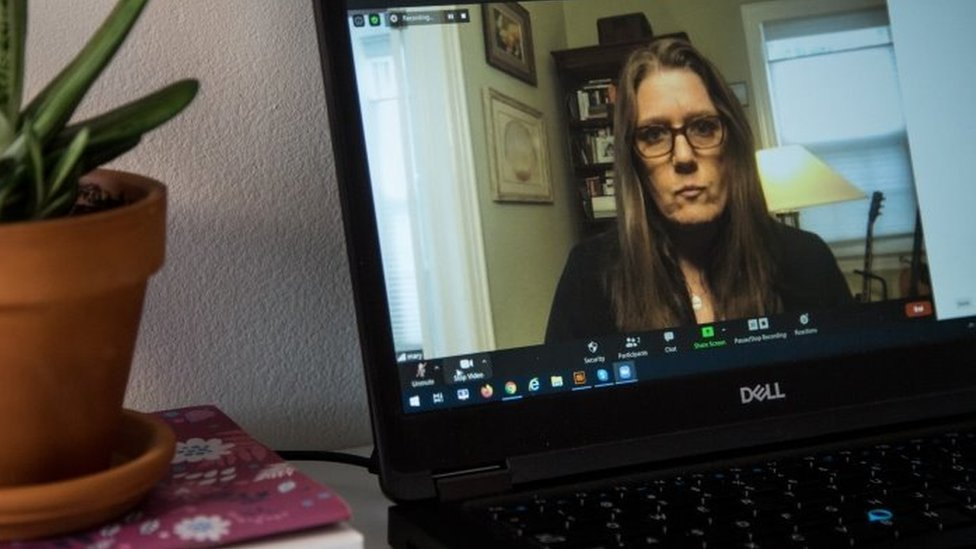 Mary Trump talks during a video call. Photo: August 2020
