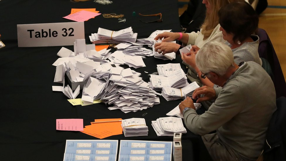 Vote count in Kendal, England