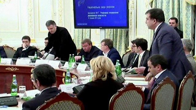(Men standing) Arsen Avakov (l) and Mikheil Saakashvili (r)