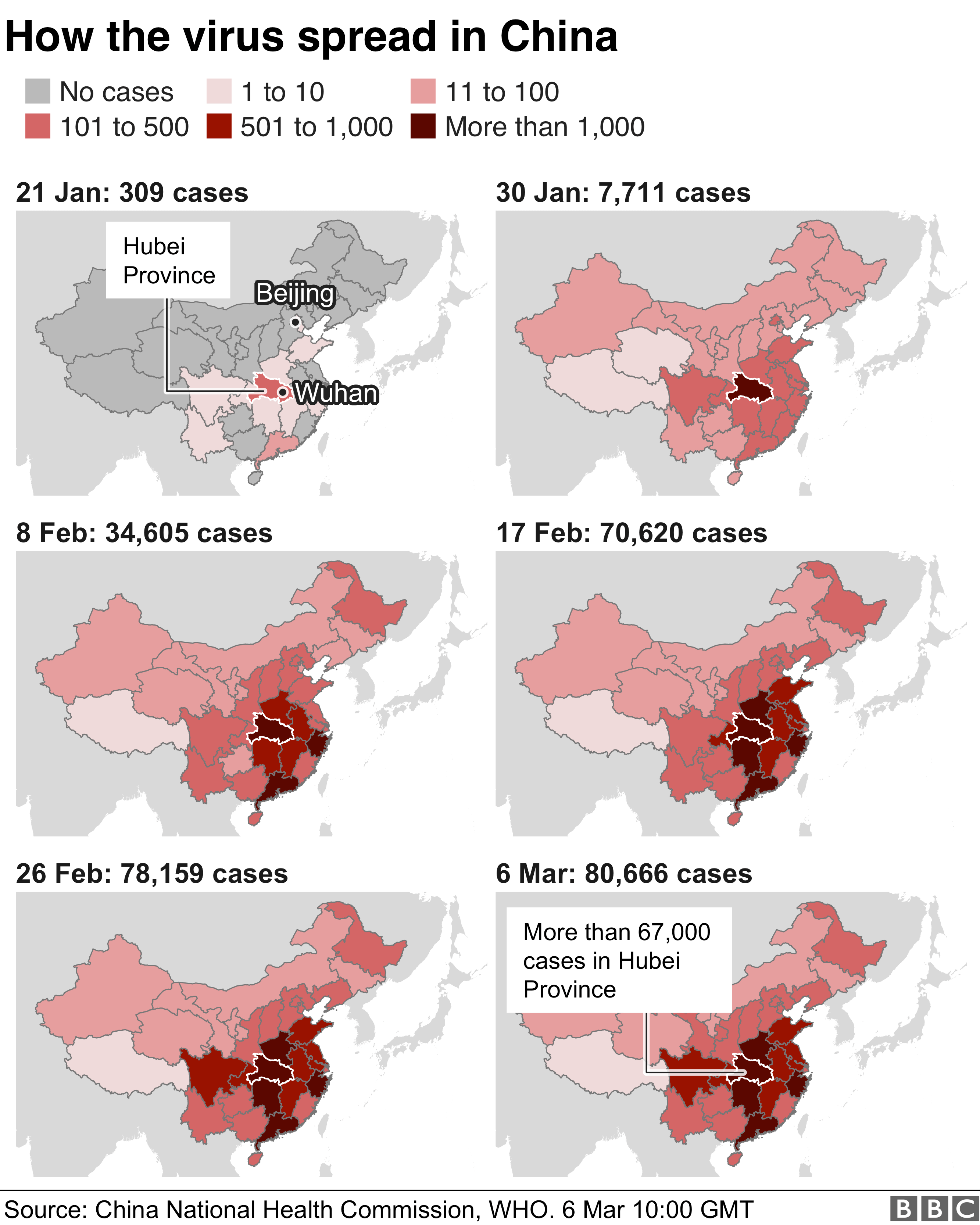 Chart showing how the virus has spread in China 6 March