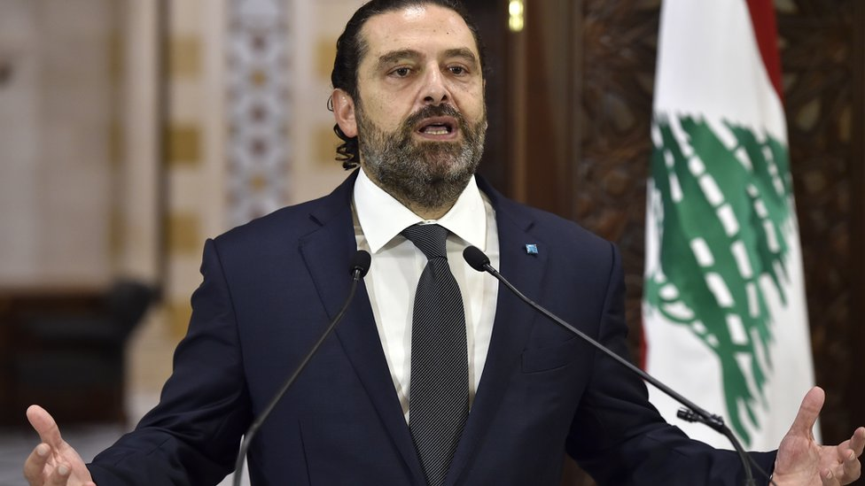 Saad Hariri speaks at a press conference in Beirut, Lebanon (18 October 2019)