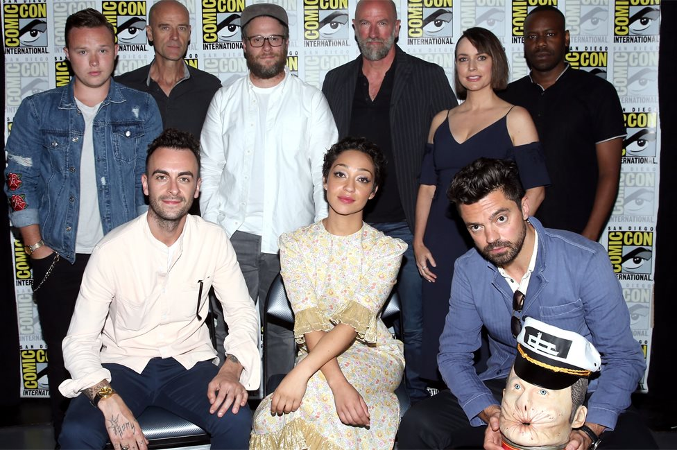 Cast of Preacher with Seth Rogen