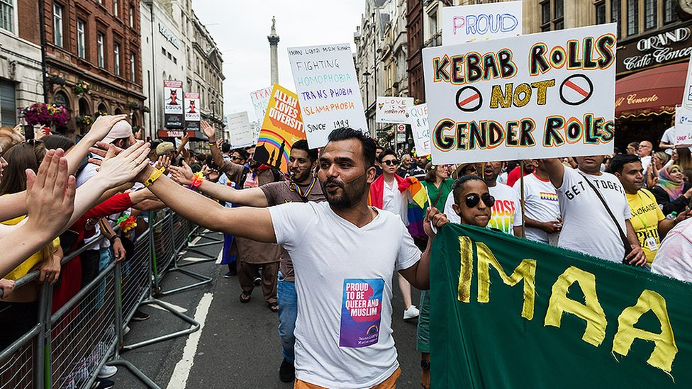 Imaan members in the 2019 Pride In London march