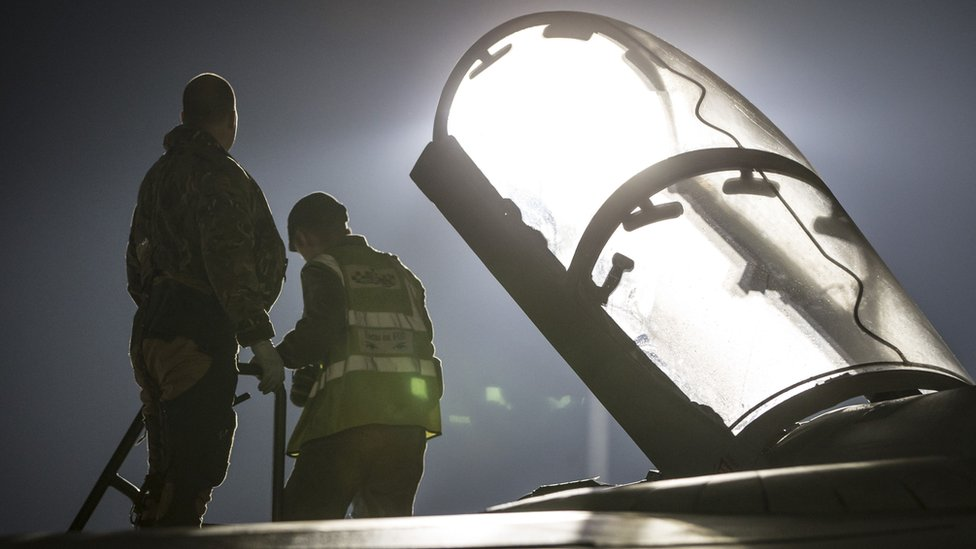 RAF Tornado Navigator getting into the cockpit before taking-off on a sortie over the Middle East