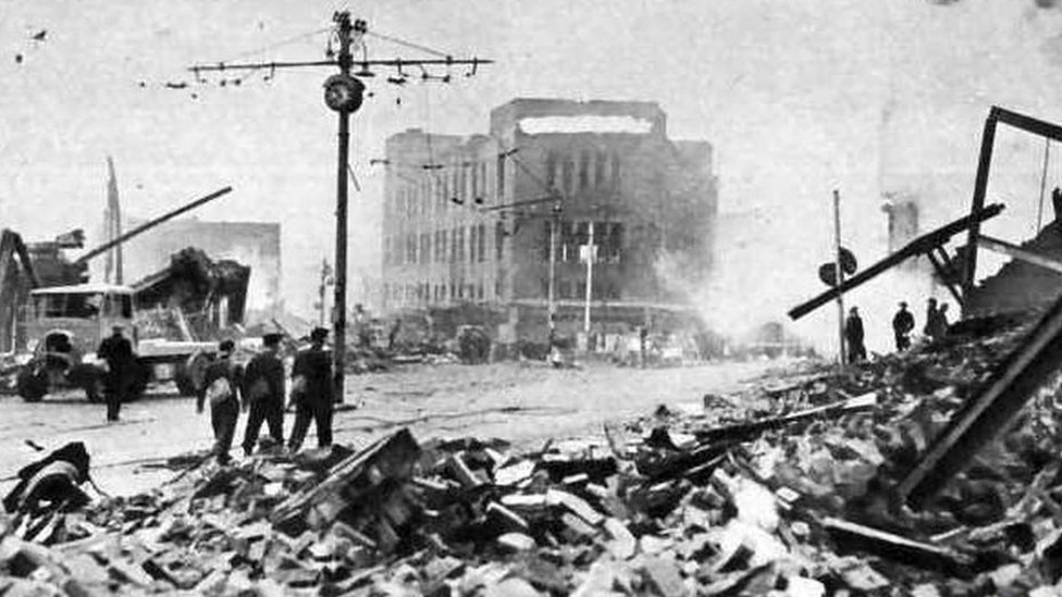 The scene after the blitz