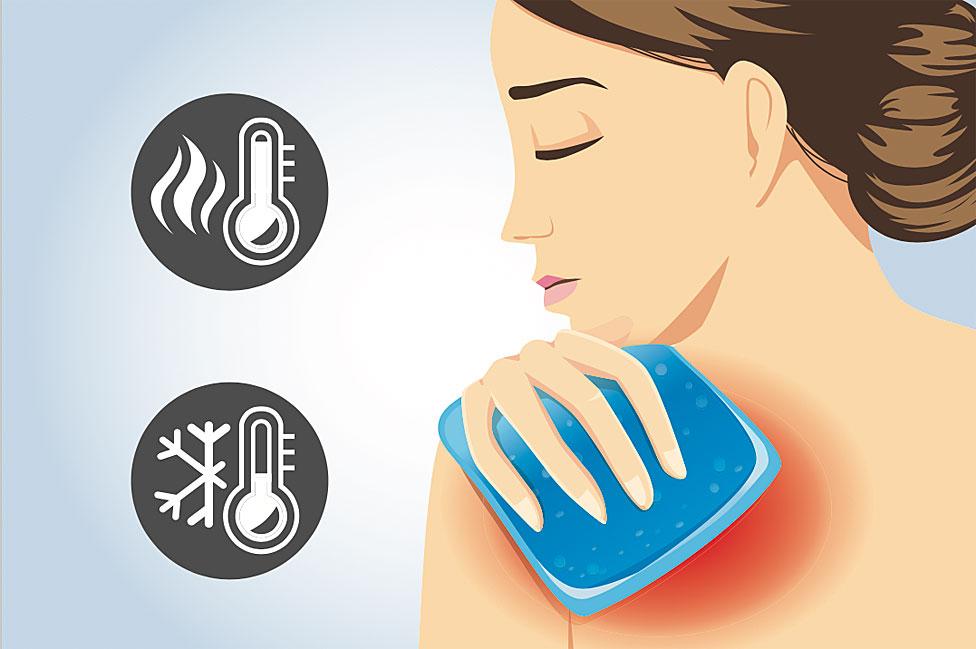 Dibujo de mujer aplicándose un pack analgésico en el hombro, con signos de frío y de calor.