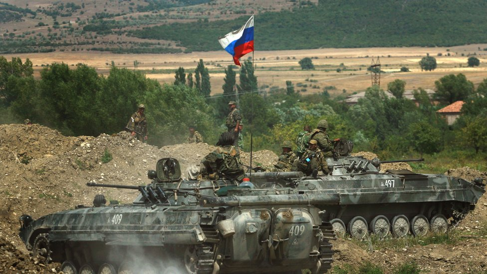 Russian tanks take positions near the village of Igoeti in Georgia