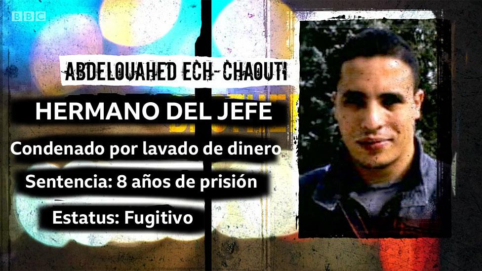 Foto de Abdelouahed Ech-Chaouti y texto: Hermano del Jefe; Condenado por lavado de dinero; Sentencia: 8 años de cárcel; Estatus: Fugitivo