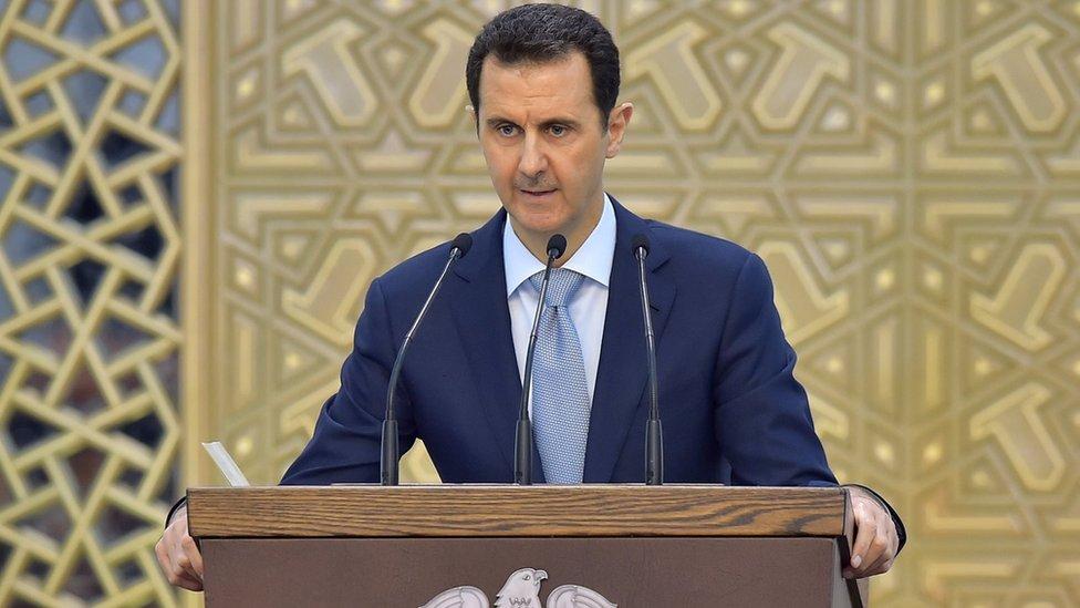 Bashar al-Assad delivers a speech in Damascus, Syria (26 July 2015)