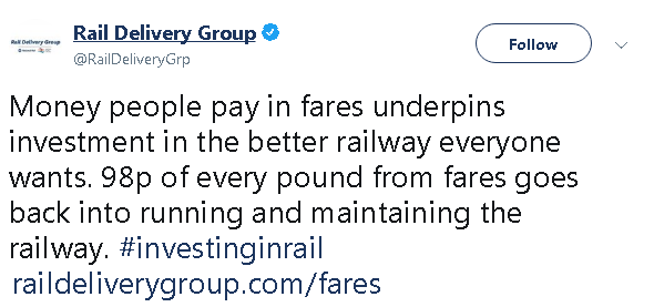 Money people pay in fares underpins investment in the better railway everyone wants. 98p of every pound from fares goes back into running and maintaining the railway.